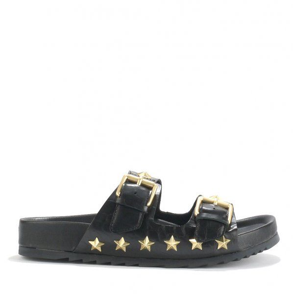 ASH UNITED Buckled Sandals Black Gloss Croc Leather & Star Studs    http://www.ashfootwear.co.uk/womens-c1/ash-united-buckled-sandals-black-gloss-croc-leather-star-studs-p1494