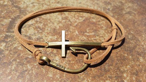 Brown Leather Bronze Fishing Hook Cross Bracelet by HannaschCrafts