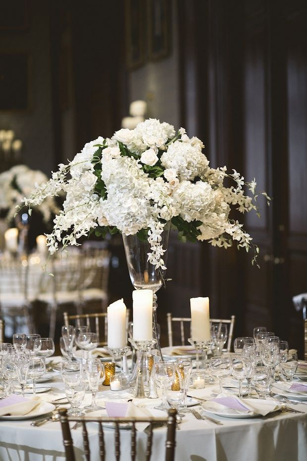 Beautiful blooms white ivory tall centerpiece with