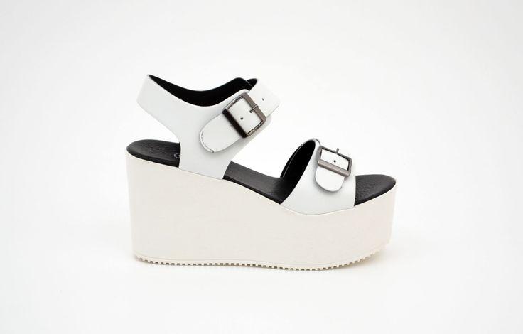 Sandale damă casual albe din piele naturală - Femei / Sandale casual - GiAnni