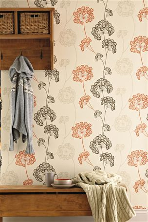 Buy Orange Emily Floral Wallpaper from the Next UK online shop