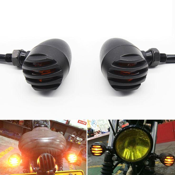 Only US $21.40 4X Metal Bullet Black Amber Bulb Motorcycle Turn Signal Light For Harley Bobber Chopper Custom Honda Yamaha Kawasaki Suzuki BMW