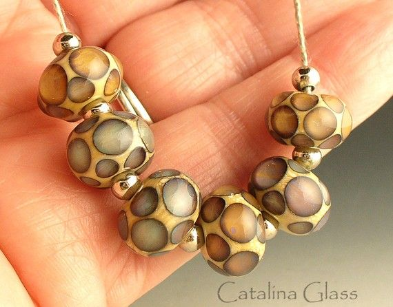 Reactive Pools 6 Lampwork Beads by CatalinaGlass