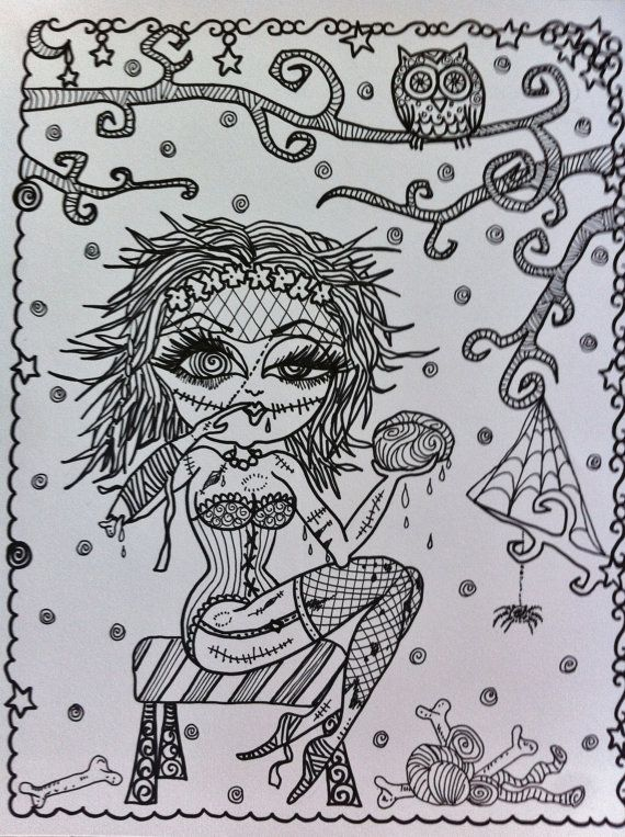 COLORING BOOK ZomBie GiRL Halloween Coloring Book By ChubbyMermaid