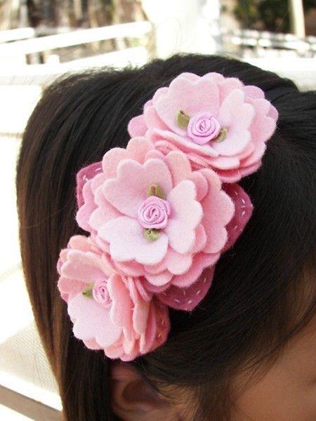 Lovely pink felt flower headband