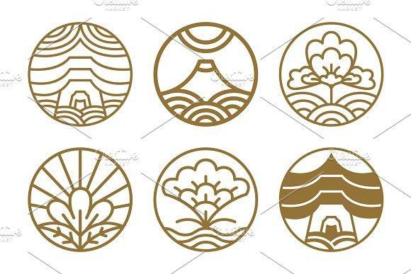 Japanese Icons Set Flowers Vector Illustration #japanese