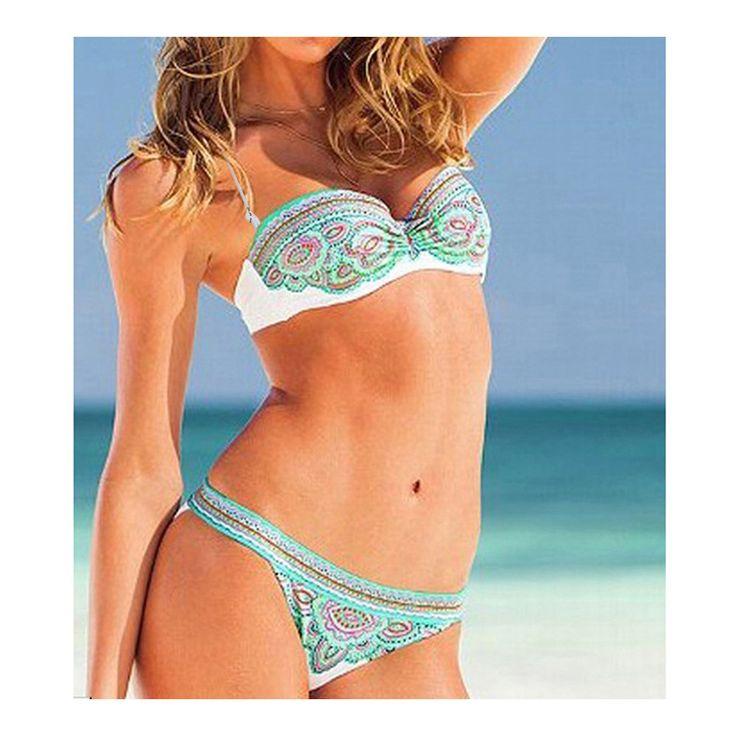 Swimwear Swimsuit Bikini Sexy Printing 3066 green S