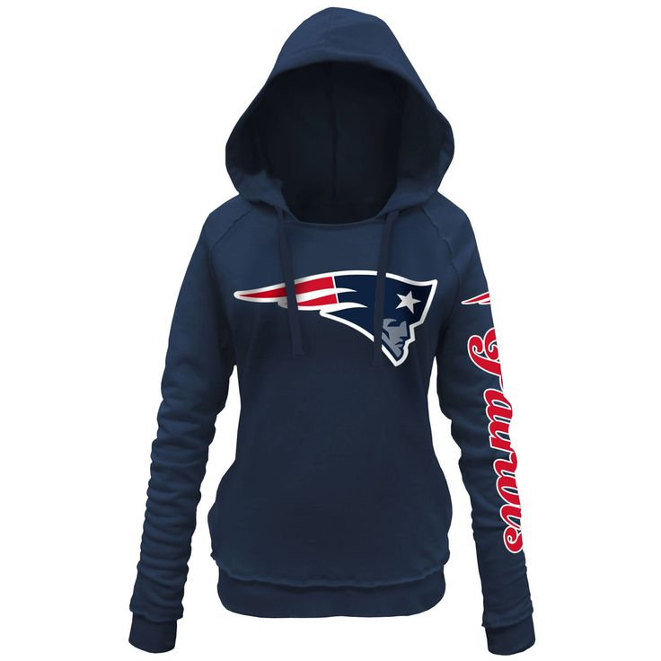 Women's New England Patriots 5th and Ocean by New Era Navy Blue Snap Count Pullover Hoodie