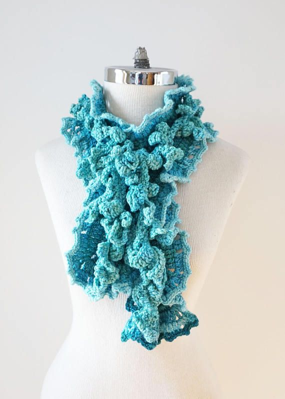Turquoise Ombre Scarf with Ruffle Edge and Vine Accent scarf, Long version, handmade scarf in blue, hand painted Merino Wool, Crochet Scarf