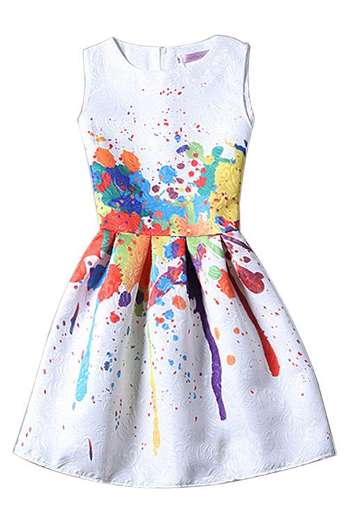 Sleevelss Tutu Mini Dress in Printing