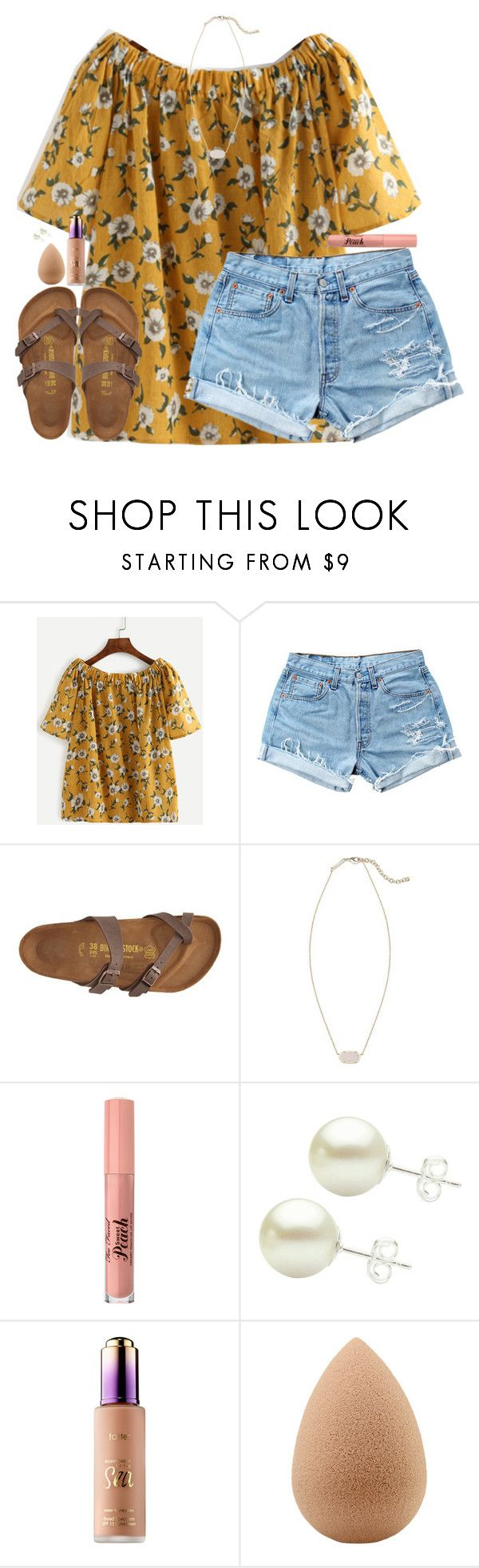 """""""Untitled #1817"""" by southernstruttin ❤ liked on Polyvore featuring Levi's, Birkenstock, Kendra Scott and beautyblender"""