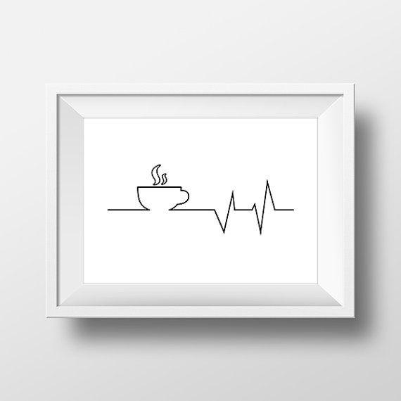 Aber erste Kaffee, Herzschlag drucken. Kaffee-Print, Inspiration Kunst…