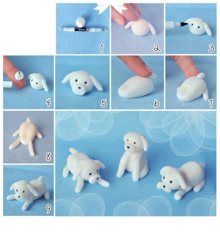 perrito blanco en masa flexible paso a paso