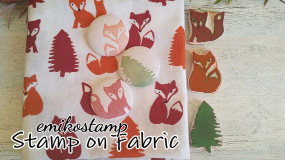 SALE Fox rubber stamp set of 3 Woodland Stampunmounted