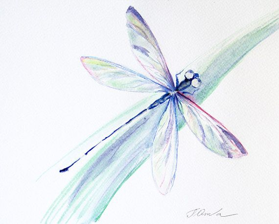 ORIGINAL Watercolor Painting Dragonfly painting by coloribli