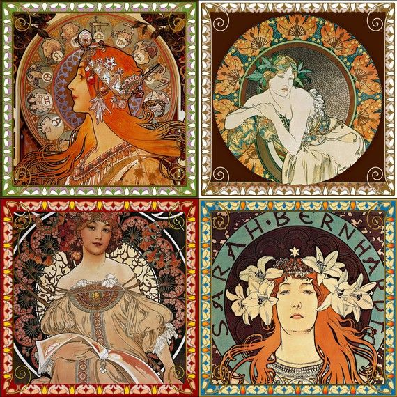 Glass Coasters (Set of 4) - Mucha Ladies
