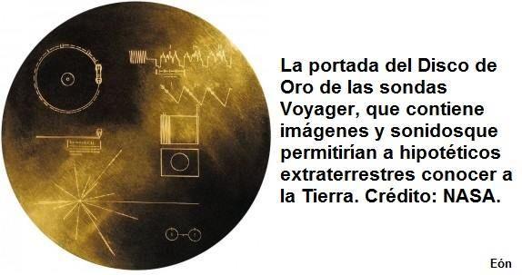 ... La portada del Disco de Oro de las sondas Voyager, que contiene imágenes y sonidos que permitirían a hipotéticos extraterrestres conocer la Tierra. Crédito: NASA.