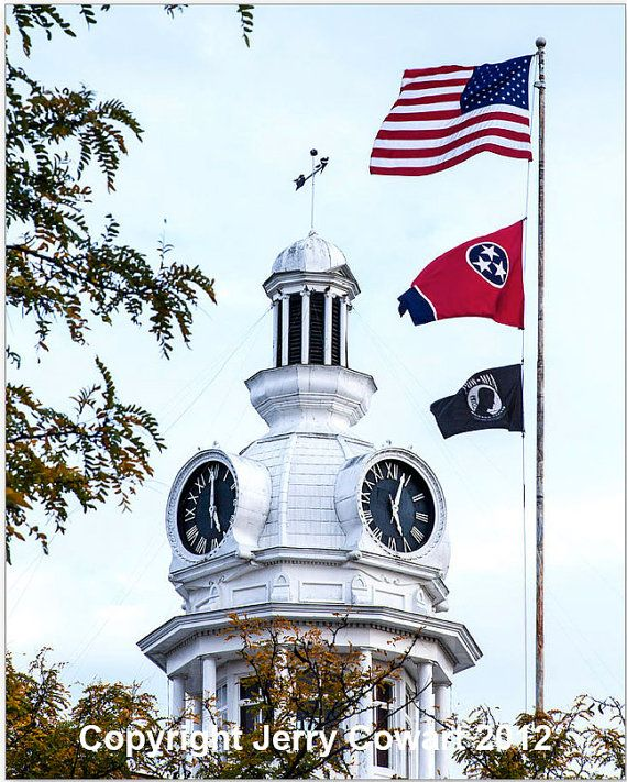 Clock Tower With Tennessee Flag Fine Art by PhotosbyJerryCowart, $38.50