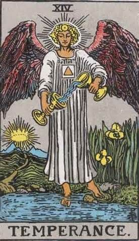 Temperance Tarot Card and Its Meaning  Management, economy, spirit transcending matter, moderation, wise counsel.