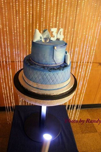 Denim And Diamond Birthday Cake With Bling Backdrop
