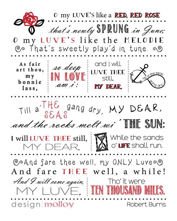 A famous poem by Scotland's favourite poet! A Red, Red Rose by Robert Burns is a perfect gift for weddings, civil unions, re-commitment ceremonies, engagements, anniversaries or anytime to affirm the love of two people. Also makes a lovely print for Valentine's Day! #crashout0202
