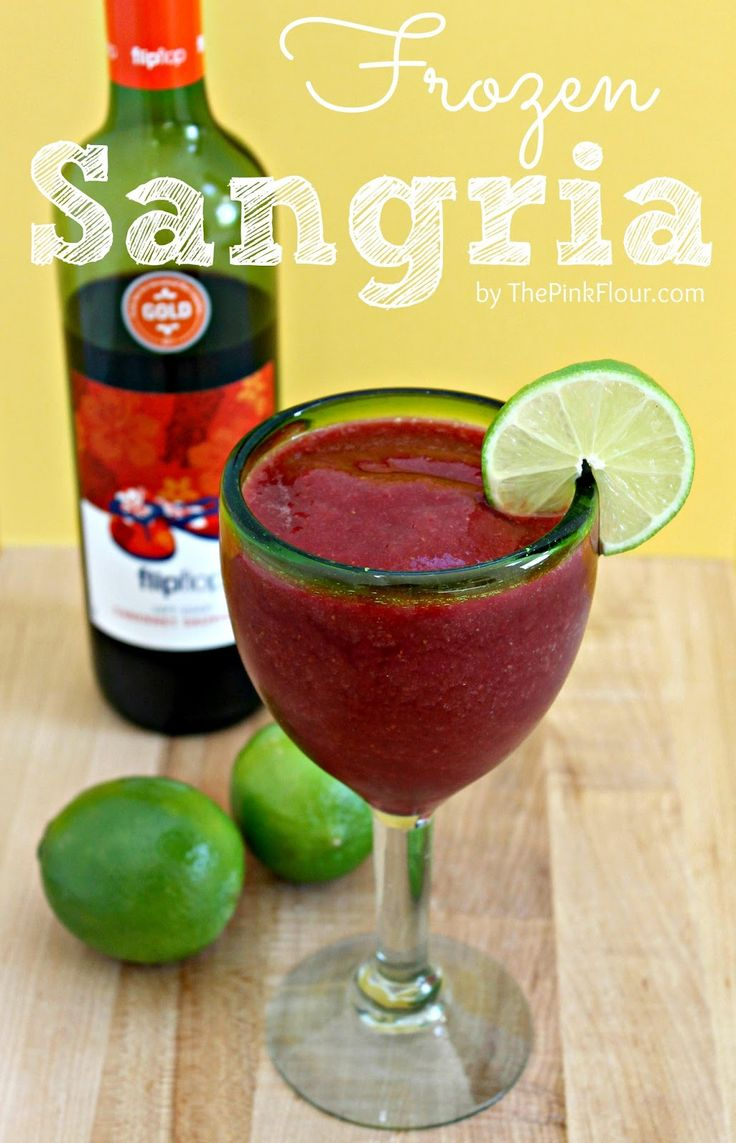 "Frozen Sangria: light and refreshing, the perfect summertime cocktail (with a kid-friendly alternative!) ~ It's the perfect ""Adult"" slushie.  YES please!"