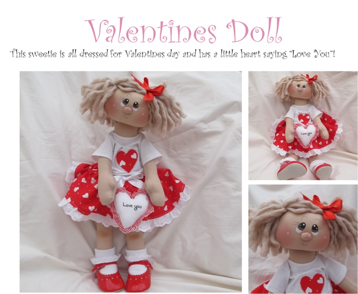 Valentines Doll handmade by The Ruby Range for sale UK
