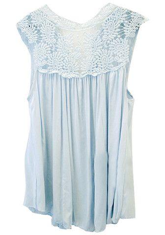 Mavi Dantel Cap Sleeve Top