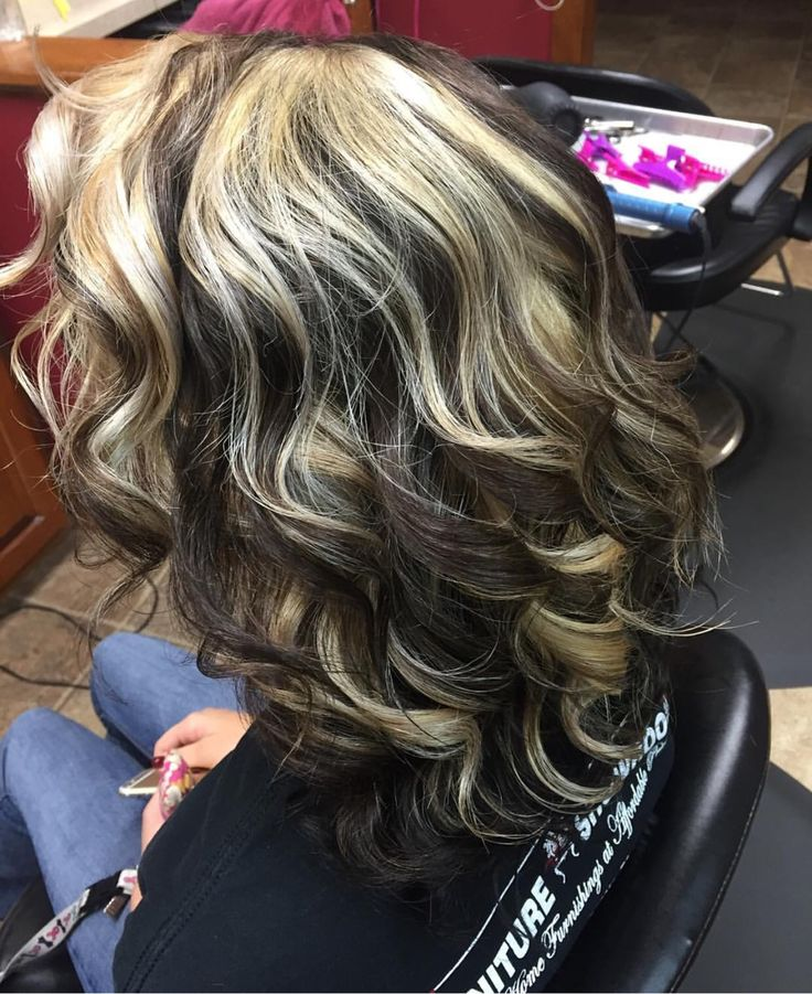 Blonde, dark brown and black highlights