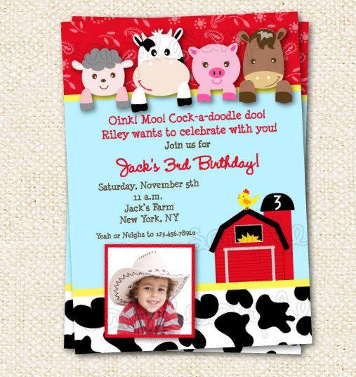 Barnyard Birthday Invitations by LollipopPrints on Etsy, $12.00
