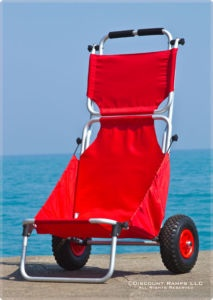 Beach tote chair. Foldable, big wheels to use on sand. $65