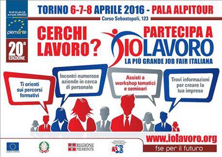 """Partecipo oggi alla XX EDIZIONE """"IO LAVORO"""" presso #PalaAlpitour #Torino2016 #IoTiascolto #work #giovani"""