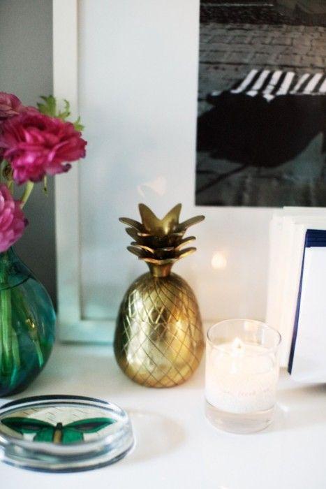 so cuteDiy Ideas, Brass Pineapple, Golden Pineapple, Pineapple Decor, Black And White, Gold Pineapple, House, Pineapple Home Decor, Dash Decor