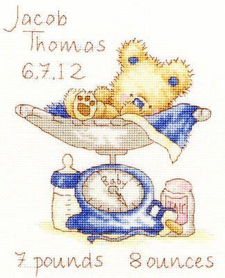 Huggles Featherweight baby boy birth sampler cross stitch kit