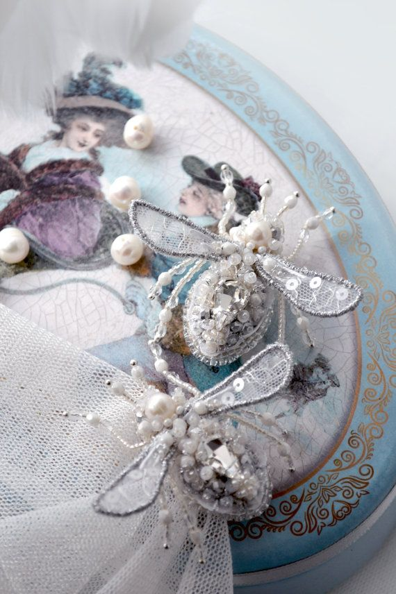 "White/silver small twin bee pins by Agija Rezcova. Collection ""Let Them Eat Cake"""