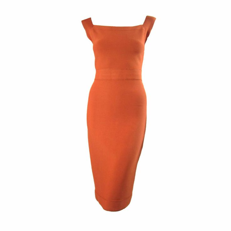 Herve Leger Tangerine Dress with Brown Topstitch
