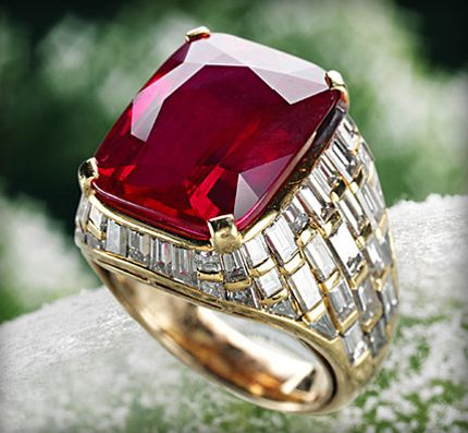 "Rubies are also high in value with the most expensive being purchased in 2006 for a staggering 3.5 million dollars. It was 8.62 carats, set in a Bulgari ring and colored in a highly desired ""pigeon's-blood red"", which is a deep red color with a hint of blue. The exceptionally rare color and carat weight made this sparkler a record breaker. It's rumored that after auction this gem was sold to the Sultan of Brunei and presented to one of his wives as a gift."