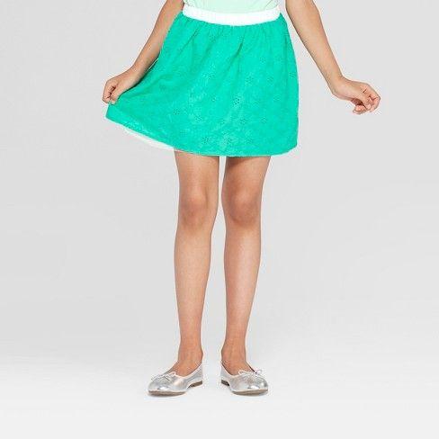 9880e7454b Girls' Floral Eyelet and Tulle Reversible Skirt - Cat & Jack™ Green ...