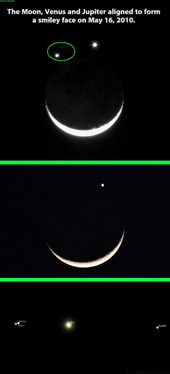 Fake - Moon, Venus and Jupiter - The green circle just sows the bad cut/paste. The second image is from here:  https://twitter.com/AnthonyLowes/status/424056945067450368/photo/1 and shows the sky on that date. The third image is from here: http://twitpic.com/dsslkp and shows the real relationship of the planets and the moon. Read http://theskyabove22.wordpress.com/2010/05/17/may-16-2010-lunar-occultation-of-venus/