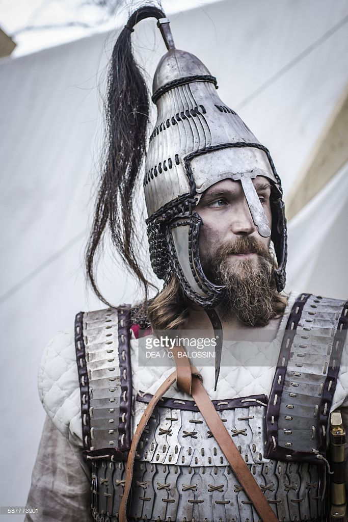 Langobard warrior with armour and Avar lamellar helmet, reconstruction based on findings in Niederstotzingen (Germany). Northern Italy, 6th century. Historical reenactment.