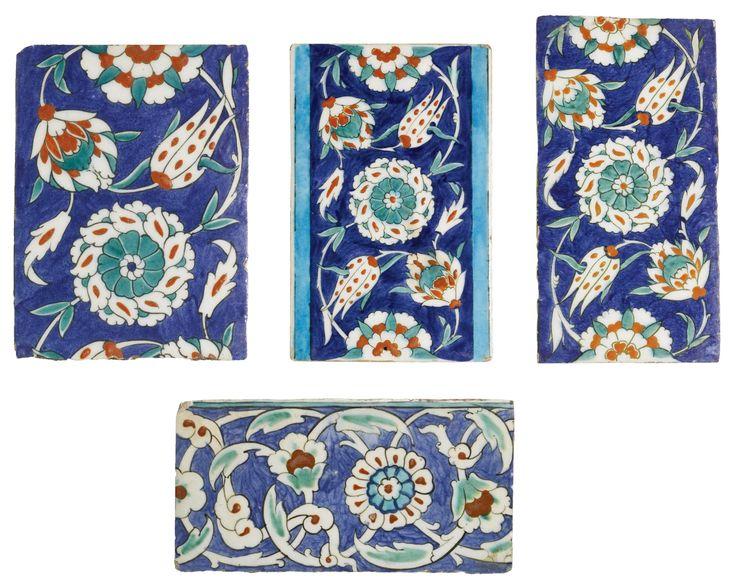 Four Iznik polychrome pottery border tiles, Turkey, 1575-85 | Lot | Sotheby's