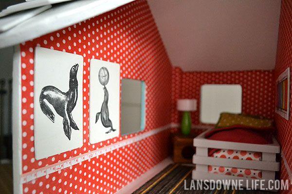 Dollhouse bedroom full of handmade furniture