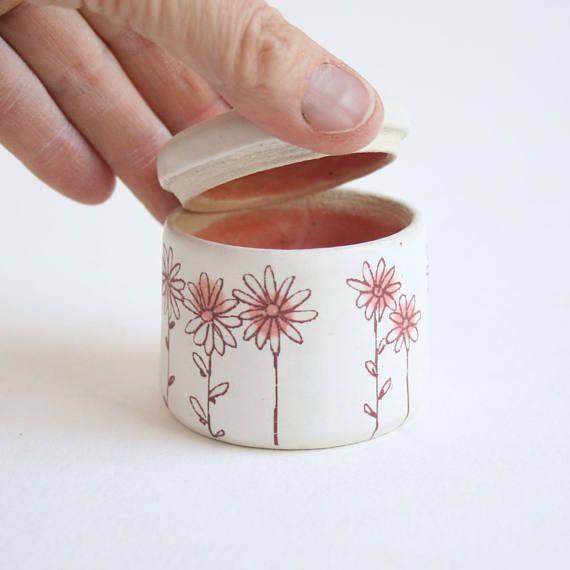 Pink Daisies Keepsake Urn  small pet urn baby urn white
