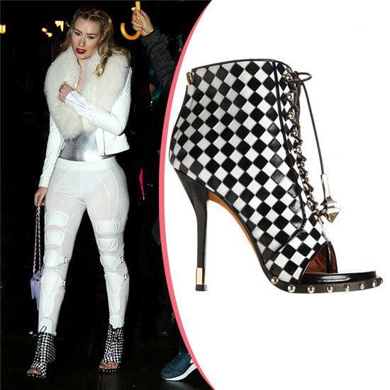 Stile di estate bota quadrato bianco nero di cuoio lace up stivaletti peep toe tacchi alti gladiatore delle donne stivali celebrità scarpe donna in    da Stivali da donna su AliExpress.com | Gruppo Alibaba