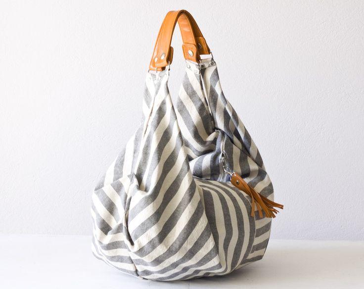 Kallia bag Stripe grey offwhite and orange leather von Handmade Bags by Milloo auf DaWanda.com