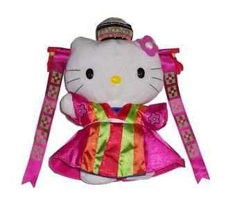 Hello Kitty korean kimono doll | ... New Sanrio Hello Kitty Korean Wedding Bride Soft Plush Figure Toy Doll