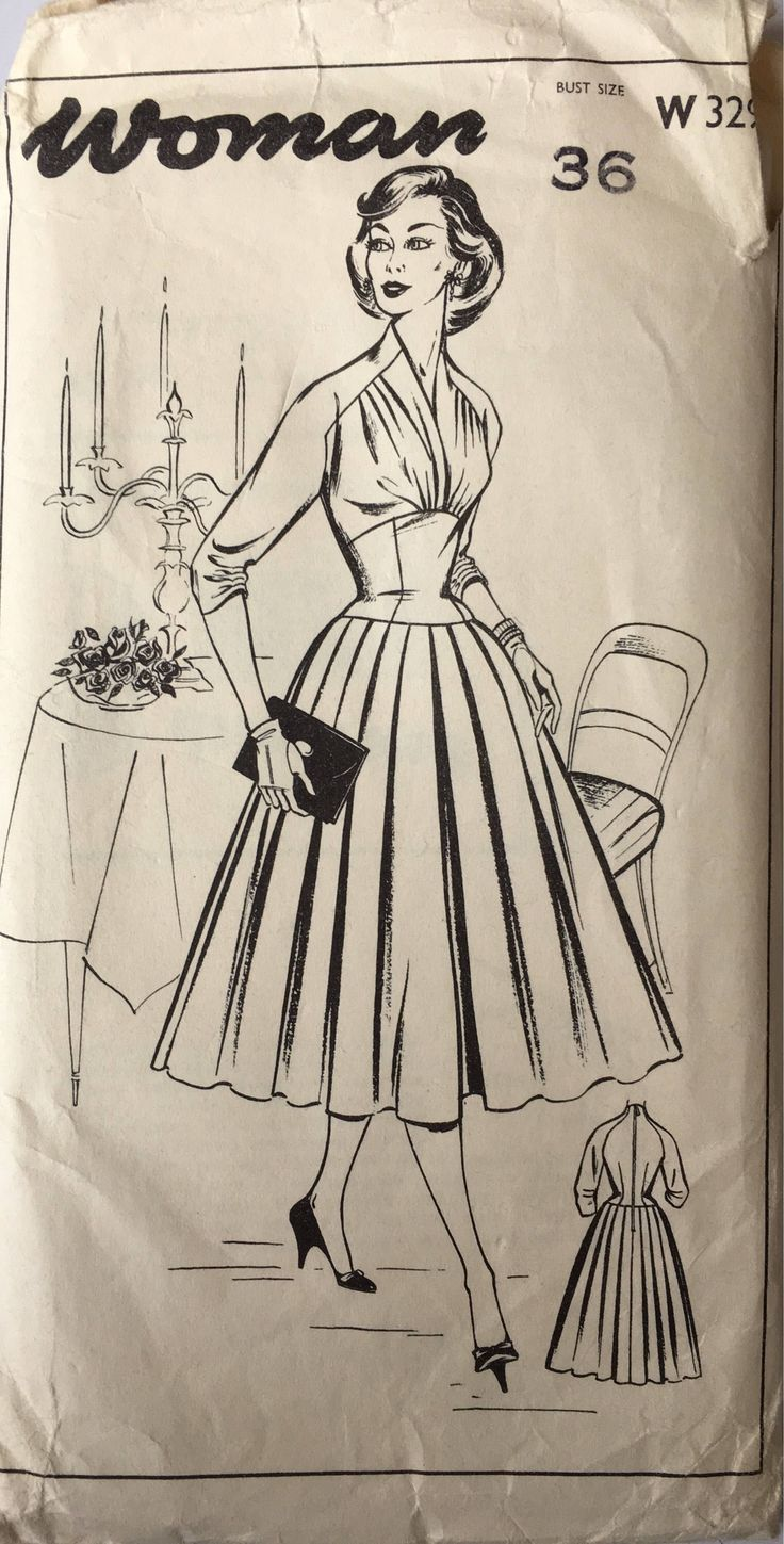 50s Woman dress sewing pattern, 329, Bust 36 inches, vintage sewing patterns, draped bodice dress, three quarter sleeves by Tigrisa on Etsy https://www.etsy.com/uk/listing/556260439/50s-woman-dress-sewing-pattern-329-bust