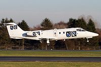 FAI rent-a-jet Learjet 55 D-CONU aircraft, on short finals to Germany Hamburg Fuhlsbuettel International Airport. 08/12/2015.