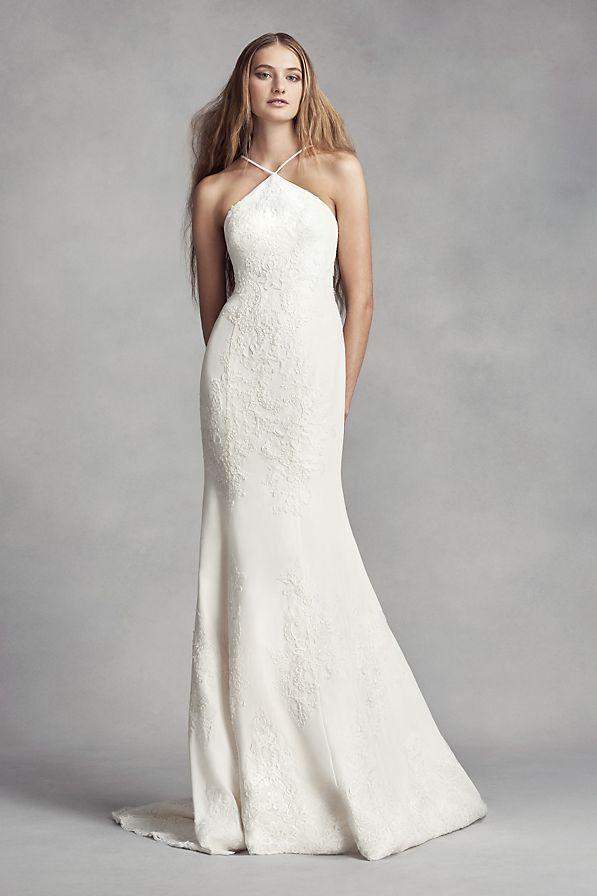 475d9caf White by Vera Wang Halter Sheath Wedding Dress Style VW351346, Ivory ...