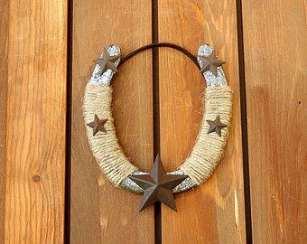 Decorado de herradura usado con estrellas, Western Decor, decoración rústica, decoración de habitación de dormitorio